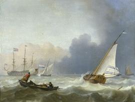 Schilderijbehang  Ludolf Backhuysen -Woelige Zee met Nederlands Jacht