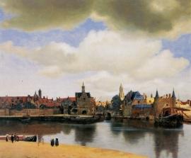 Schilderijbehang -Vermeer - Gezicht op Delft