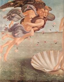 Schilderijbehang Botticelli - Birth of Venus (detail 1)