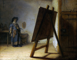Schilderijbehang - Rembrandt - An artist in his studio