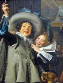 Schilderijbehang - Hals - Junger Mann und Frau in einem Gasthaus