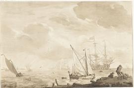 Schilderijbehang  Ludolf Backhuysen -  Oorlogsschip bij het Strand