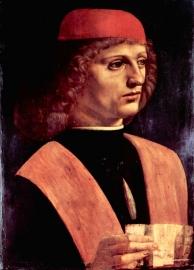 Schilderijbehang - Da Vinci - Portret of a Musician