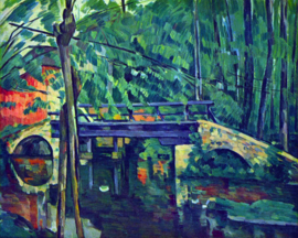 Schilderijbehang - Cézanne - Bridge in the forest