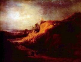 Schilderijbehang - Rembrandt - Landscape with Baptism
