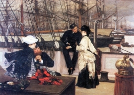Schilderijbehang -Tissot - The Captain and his Girl