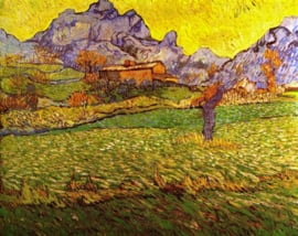 Schilderijbehang - Van Gogh - A meadow in the Mountains