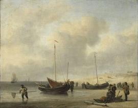 Schilderijbehang  Willem v.d. Velde II - Vissersschepen aan het Strand
