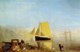 Schilderijbehang -Turner - Fishing boat in a mist