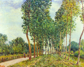 Schilderijbehang - Sisley - Banks of the Loing in Moret