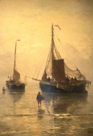 Schilderijbehang  H.W. Mesdag - Aankomst van de vis