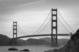 Fotobehang - Zwart wit - San Francisco - Golden Gate bridge