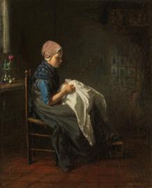 Schilderijbehang - Jozef Israels - Het Naaistertje