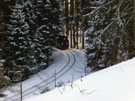 Fotobehang - Treinen - Trein - Train in the snow