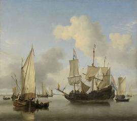 Schilderijbehang  Willem v.d. Velde II - Schepen onder de Kust voor Anker