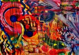 Schilderijbehang  met Abstracte Kunst - Zonder titel nr. 01