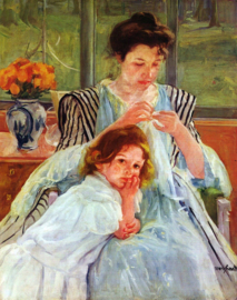Schilderijbehang - Cassatt - Young mother sewing