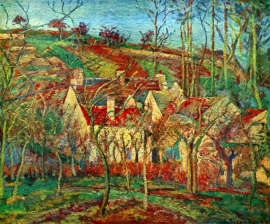 Schilderijbehang Pissarro - The red roofs