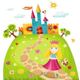 Fotobehang Kinderkamer - Prinses en haar kasteel op de berg