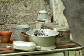 Fotobehang - Stilleven - Vintage Keukengerei - Vintage Tableware