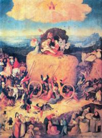 Schilderijbehang - Jeroen Bosch - De Hooiwagen ( Central Table )
