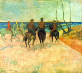 Schilderijbehang - Gauguin - Riders on the beach