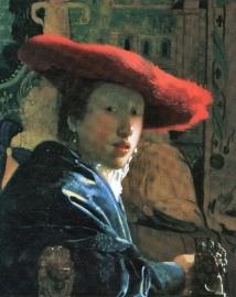 Schilderijbehang - Vermeer - Meisje met de rode Hoed