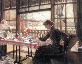 Schilderijbehang -Tissot - Room with a Glance from the Port