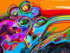 Schilderijbehang  met Abstracte Kunst - Zonder titel nr. 09