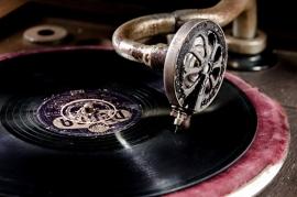 Fotobehang - Muziek - Detail  Oude Gramofoonspeler