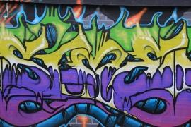Schilderijbehang met Graffiti - Purple