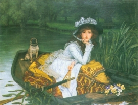 Schilderijbehang -Tissot - A young woman in a boat