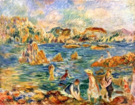 Schilderijbehang - Renoir - At the beach of Guernesey
