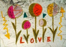 Schilderijbehang met Graffiti - Love Flowers
