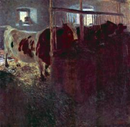 Schilderijbehang - Klimt - Cows in stall