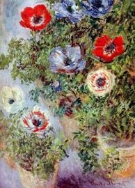 Schilderijbehang - Monet - Still life with Anemones