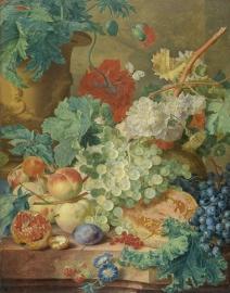 Schilderijbehang  met Stilleven - Stilleven met Bloemen en Vruchten