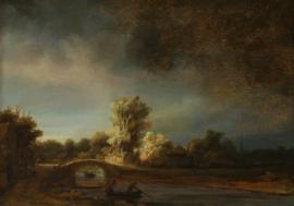 Schilderijbehang - Rembrandt - De stenen Brug