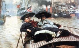Schilderijbehang -Tissot - The Thames