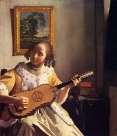 Schilderijbehang - Vermeer - The Guitar Player
