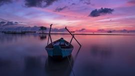Fotobehang - Zee - Zonsopgang (lila) - Sunrise (purple)