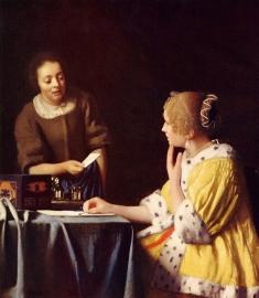 Schilderijbehang - Vermeer - Dame en Dienstbode