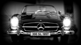 Fotobehang - Zwart wit - Mercedes SL