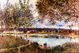Schilderijbehang - Sisley - The path to the old ferry