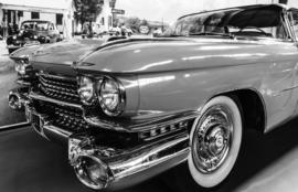 Fotobehang - Zwart wit - Pink Cadillac