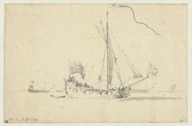 PrentBehang  Willem v.d. Velde II - Een naar rechts zeilend Schip