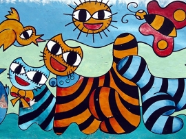 Schilderijbehang met Graffiti - Animals