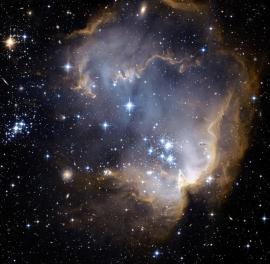 Fotobehang - Kosmos - Sterrenclusters grijs/blauw - Star Clusters Grey Blue