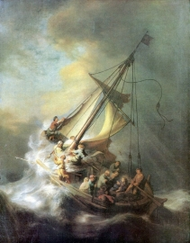 Schilderijbehang - Rembrandt - Christ in a storm on the Sea of Galilee