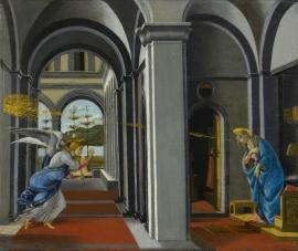 Schilderijbehang Botticelli - The Anunciation